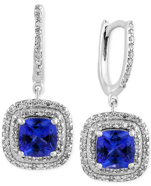 EFFY Collection EFFY® Final Call Tanzanite (1-9/10 ct. t.w.) and Diamond (1/2 ct. t.w.) Drop Earrings in 14k White Gold