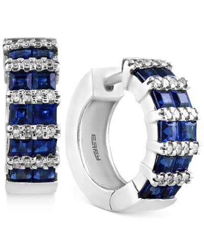EFFY® Final Call Sapphire (1-9/10 ct. t.w.) and Diamond (1/5 ct. t.w.) Hoop Earrings in 14k White Gold