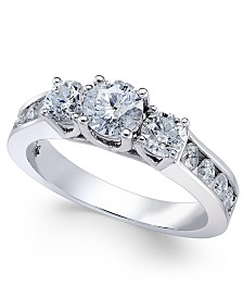 Diamond Trinity Channel Set Engagement Ring 1 2 Ct Tw