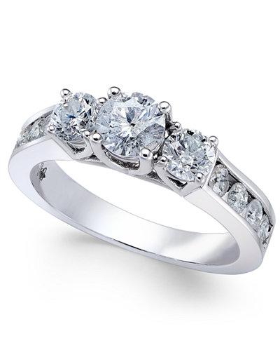 diamond trinity channel set engagement ring 1 12 ct tw macys - Macys Wedding Rings