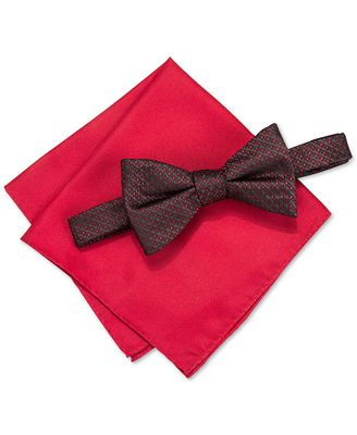 alfani s venus neat bow tie solid pocket square set