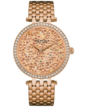 Caravelle New York by Bulova Women's Rose Gold-Tone Stainless Steel Bracelet Watch 38mm 44L222