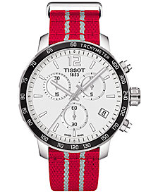 Tissot Unisex Swiss Chronograph Houston Rockets Quickster Red & White Strap Watch 42mm T0954171703712