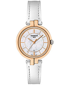Tissot Women's Swiss Flamingo White Leather Strap Watch 26mm T0942102611101