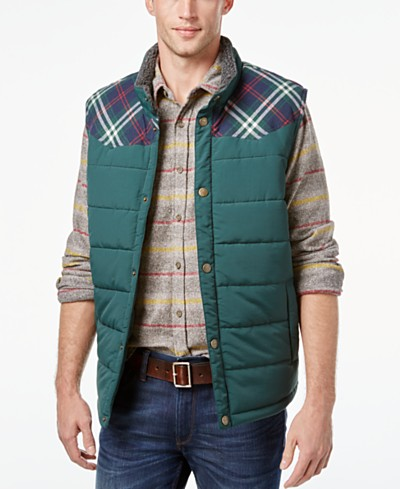 Weatherproof Vintage Men's Pieced Plaid Vest, Classic Fit