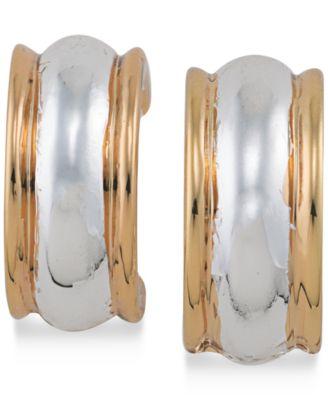 Two-Tone Hoop Clip-on Earrings