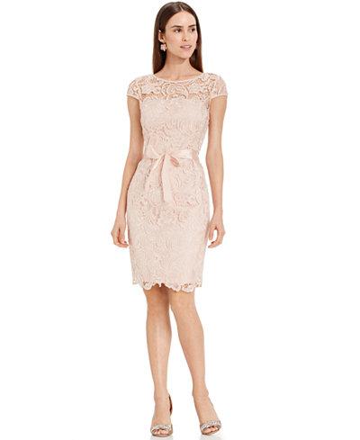 Adrianna Papell Lace Cap-Sleeve Illusion Sheath Dress ...