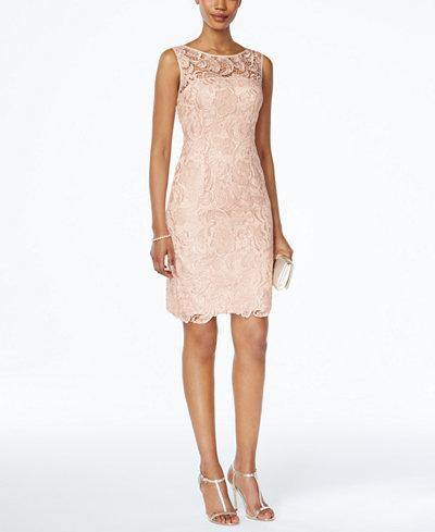 Adrianna Papell Lace Sheath Dress - Women - Macy's