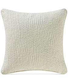 "Waterford Allure Slate Gray Beaded 14"" Square Decorative Pillow"