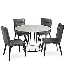 Callisto Marble Round Dining Set, 5-Pc. (Dining Table & 4 Side Chairs), Created for Macy's