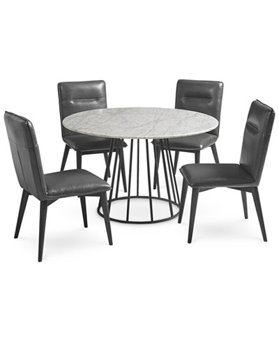 Callisto Marble Round Dining Set 5 Pc Table 4 Side