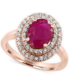 Amoré by EFFY® Certified Ruby (1-9/10 ct. t.w.) and Diamond (3/8 ct. t.w.) Ring in 14k Rose Gold, Created for Macy's