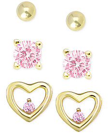 Children's 3-Pc. Set Pink Cubic Zirconia Stud Earrings in 18k Gold-Plated Sterling Silver