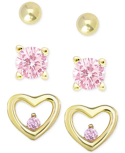 Children S 3 Pc Set Pink Cubic Zirconia Stud Earrings In 18k Gold Plated Sterling Silver