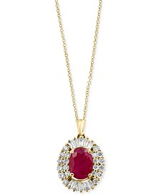 Amoré by EFFY® Certified Ruby (1-3/8 ct. t.w.) and Diamond (1/2 ct. t.w.) Pendant Necklace in 14k Gold, Created for Macy's