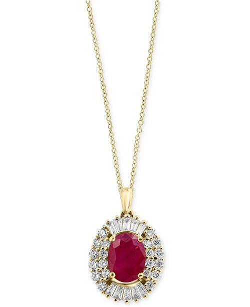 EFFY Collection Amoré by EFFY® Certified Ruby (1-3/8 ct. t.w.) and Diamond (1/2 ct. t.w.) Pendant Necklace in 14k Gold, Created for Macy's