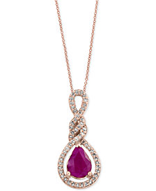 Amoré by EFFY® Certified Ruby (9/10 ct. t.w.) and Diamond (1/5 ct. t.w.) Pendant Necklace in 14k Rose Gold, Created for Macy's