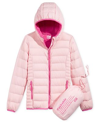 32 Degrees Hooded Packable Down Jacket, Big Girls (7-16) - Coats ...