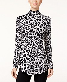 Petite Animal-Print Turtleneck Top, Created for Macy's