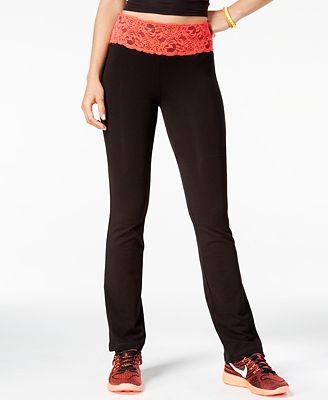 Material Girl Active Juniors' Lace-Waist Yoga Pants - Juniors ...