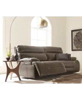 Barington Leather Sofa with 2 Power Recliners with Power Headrest