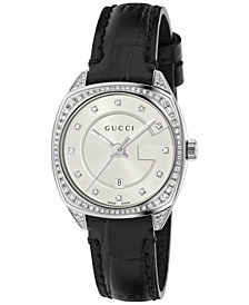 Gucci Women's Swiss GG2570 Diamond (3/4 ct. t.w.) Black Alligator Leather Strap Watch 29mm YA142507