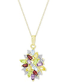 Multi-Gemstone (2-1/8 ct. t.w.) and Diamond Accent Cluster Pendant Necklace in 18k Gold-Plated Sterling Silver