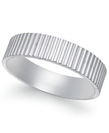Vertical Ridge Wedding Band in 18k White Gold