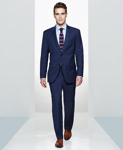 Tommy Hilfiger Men's Glen Plaid Slim-Fit Suit & Striped Dress Shirt