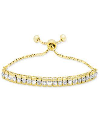 Diamond Accent Watch Link Slider Bracelet in Gold-Plated Brass