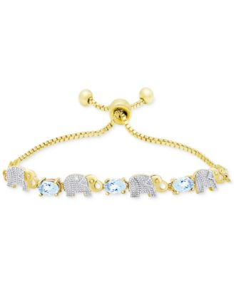 Image of Diamond Accent Elephant Slider Bracelet in Gold-Plated Metal