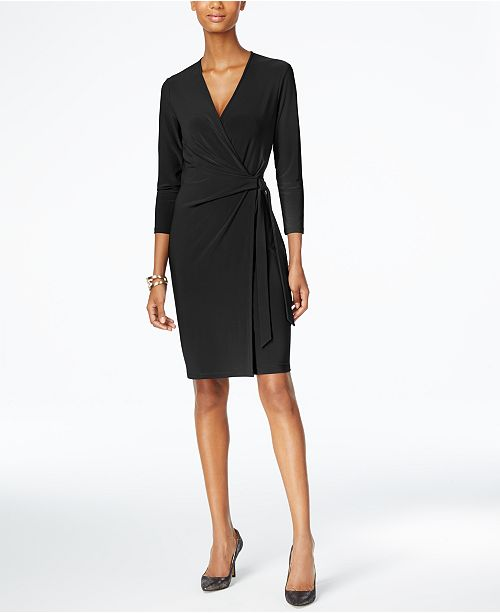 Faux Wrap Black Anne Klein Dress 5n8xpqE6wP