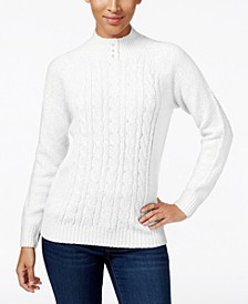 Cable-Knit Faux-Pearl-Button Sweater, Created for Macy's