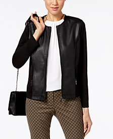 Alfani Faux-Leather Mixed-Media Jacket, Created for Macy's