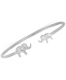 Diamond Elephant Open Cuff Bangle Bracelet (1/6 ct. t.w.) in Sterling Silver, Created for Macy's