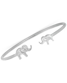 Wrapped Diamond Elephant Open Cuff Bangle Bracelet (1/6 ct. t.w.) in Sterling Silver, Created for Macy's