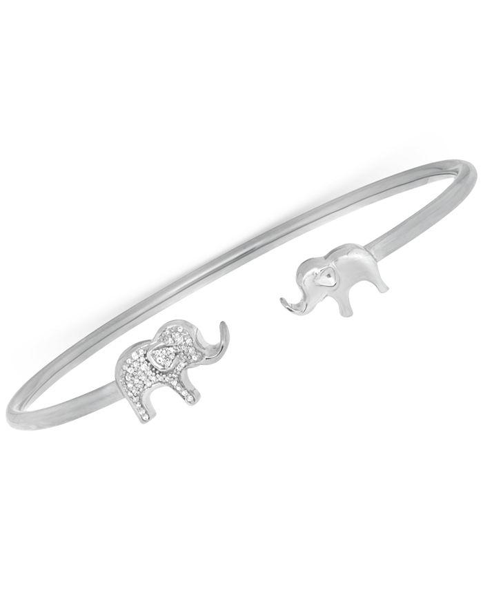 Wrapped - Diamond Elephant Open Cuff Bangle Bracelet (1/6 ct. t.w.) in Sterling Silver