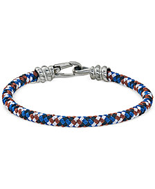 Esquire Men's Jewelry Blue, White and Brown Woven Bracelet in Stainless Steel, Created for Macy's