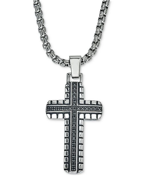 Esquire Men's Jewelry Diamond Cross Pendant Necklace (1/3 ct. t.w.) in Stainless Steel, Created for Macy's