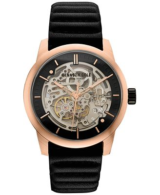 kenneth cole new york s automatic black leather