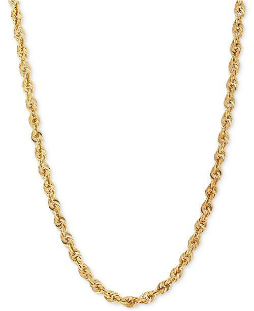 Italian Gold Glitter Rope Chain Necklace (4-1/2mm) in 14k Gold
