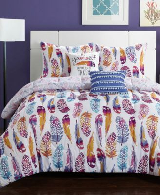 Watercolor Olivia Feather 4-Pc. Twin/Twin XL Comforter Set