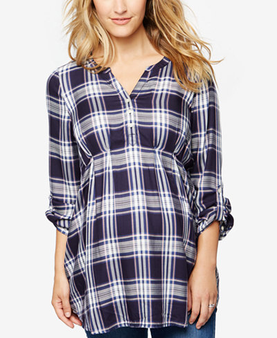 A Pea In The Pod Plaid Roll-Sleeve Shirt