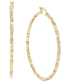 Skinny Square Textured Polished Hoop Earrings in 14k Gold
