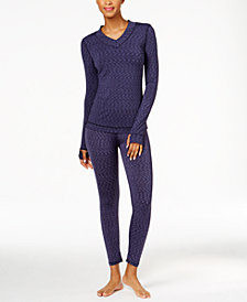 Cuddl Duds Flex Fit Long Sleeve V-Neck & Flex Fit Long Leggings