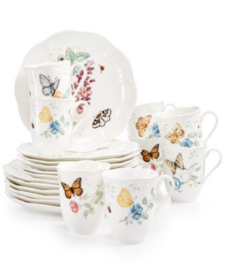 Butterfly Meadow 18-Piece Dinnerware Set + 2 Bonus Mugs, Created for Macy's