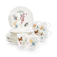 Deals on Lenox Butterfly Meadow 18-Piece Dinnerware Set + 2 Bonus Mugs