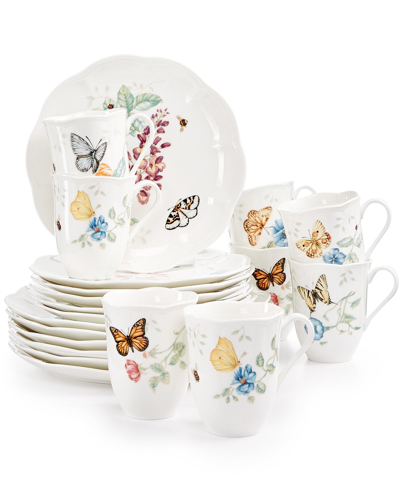 dinnerware sets  fine china wedding gifts - lenox butterfly meadow piece dinnerware set   bonus mugs a macy'sexclusive