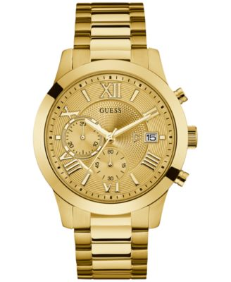Image of GUESS Men's Chronograph Gold-Tone Stainless Steel Bracelet Watch 45mm U0668G4