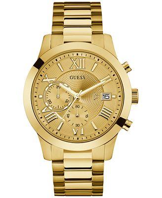 Men S Chronograph Gold Tone Stainless Steel Bracelet Watch 45mm U0668g4